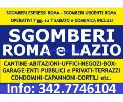 ROMA SGOMBERI ECONOMICI ABITAZIONI BOX CANTINE LOCALI UFFICI 7GG SU7