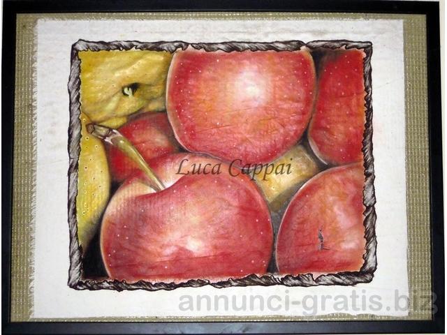 dipinto olio su stoffa con cornice - le mele 35x45cm