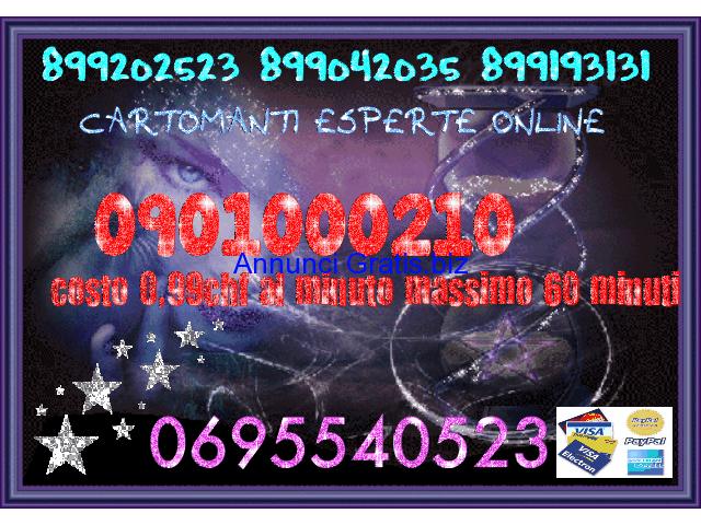 DAI UNA SVOLTA ALLA TUA VITA LE MIGLIORI CARTOMANTI SENSITIVE 899193131 0,50 CENT CARTA DI CREDITO 0