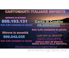 ESPERTE IN RITORNI SENSITIVE CARTOMANTI 899193131 0,50 CENT CARTA 0,30 CENT